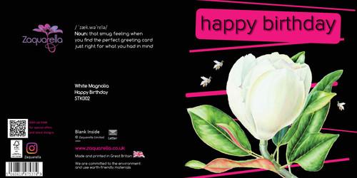 Happy Birthday  Trendy Modern Floral White Magnolia Dark Purple Background Green and Purple Text