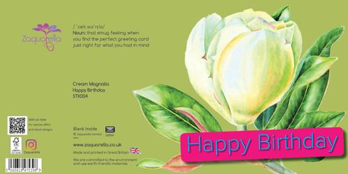 Happy Birthday  Trendy Modern Floral Cream Magnolia Dark Blue Background Blue Text