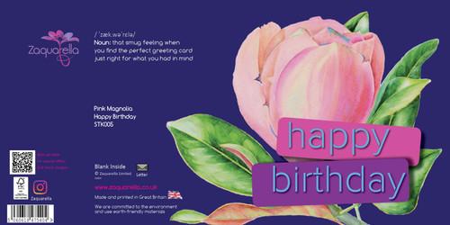 Happy Birthday  Trendy Modern Floral Pink Magnolia Dark Blue Background Blue Text