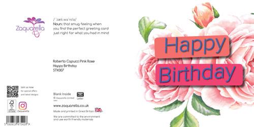 Happy Birthday  Trendy Modern Floral Roberto Capucci Pink Rose Dark Blue Background Bright Green Text