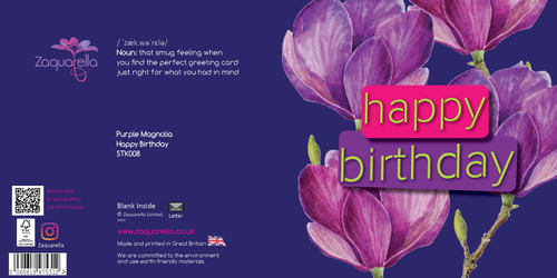 Happy Birthday  Trendy Modern Floral Purple Magnolia Pale Lilac Background Yellow and Cherise Text