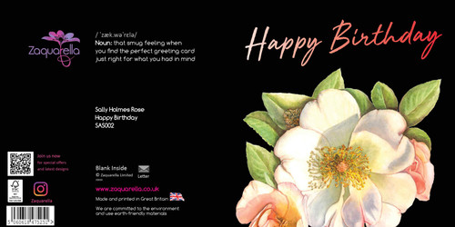 Birthday  Attractive Eye-catching Modern Floral Happy Birthday to a Special Lady Sally Holmes Rose Black Background Pink Script