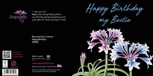 Birthday  Attractive Eye-catching Modern Floral Happy Birthday my Bestie Blue and Lilac Crinium Black Background Black Script