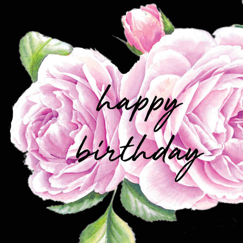 Happy Birthday  Attractive Eye-catching Modern Floral Roberto Capucci Lilac Rose Black Background Pink Script