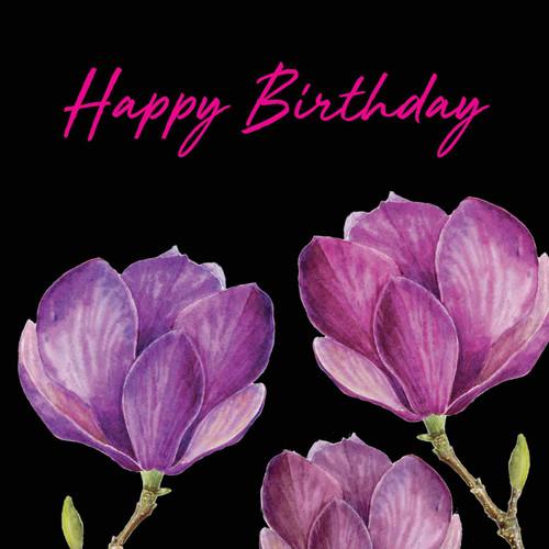 Happy Birthday  Attractive Eye-catching Modern Floral Magnolia Trio Black Background Pink Script