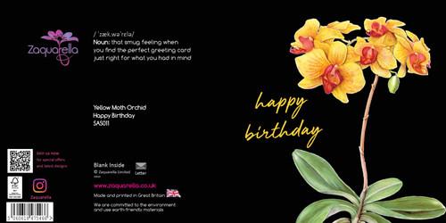 Happy Birthday  Attractive Eye-catching Modern Floral Yellow Moth Orchid Black Background Orange Script