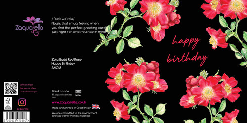 Happy Birthday  Attractive Eye-catching Modern Floral Zola Budd Red Rose Navy Blue Background Pink Script