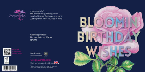 "Happy Birthday  Beautiful Contemporary Floral ""Bloomin Birthday Wishes"" Golden Spire Rose Navy Blue Background Coloured Silver Foil Text"
