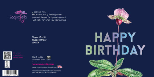 Happy Birthday  Beautiful Contemporary Floral Slipper Orchid Navy Blue Background Coloured Silver Foil Text
