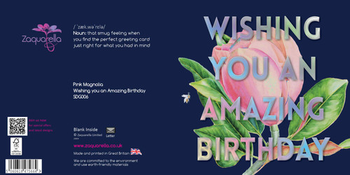 "Happy Birthday  Beautiful Contemporary Floral ""Wishing You an Amazing Birthday"" Pink Magnolia Navy Blue Background Coloured Silver Foil Text Watercolour"