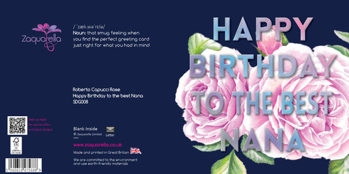 "Happy Birthday  Beautiful Contemporary Floral ""Happy birthday to the best Nana"" Lilac Rose Nana Navy Blue Background Coloured Silver Foil Text Watercolour"