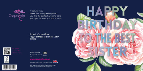 "Happy Birthday  Beautiful Contemporary Floral ""To the best Sister"" Pink Rose Sister Navy Blue Background Coloured Silver Foil Text"