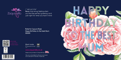 """Happy Birthday  Beautiful Contemporary Floral """"Happy birthday to the best Mum"""" Roberto Capucci Pink Rose Mum Background Text"""