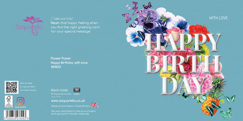 Birthday Greeting Card - Floral Collage - Happy Birthday - with Love - Teal  with White Text