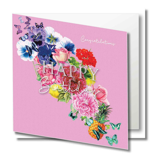 Birthday Greeting Card - Floral Collage - Happy Birthday - Congratulations - Pink  with White Script Text