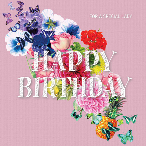 Birthday Greeting Card - Floral Collage - Happy Birthday - For a Special lady - Pink  with White Chalk Text