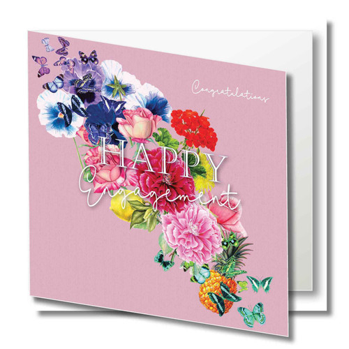 Engagement Greeting Card - Floral Collage - Happy Engagement - Congratulations - Pink  with White Script Text