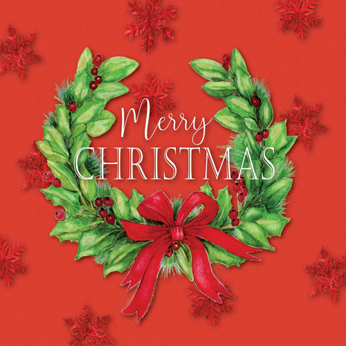 Christmas Card - Christmas Wreath with snowflakes - Merry Christmas - Red  with White Script Text