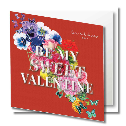 Valentine Greeting Card - Romantic Florals - Be my sweet valentine - Love and kisses xxx - Red  with White Text