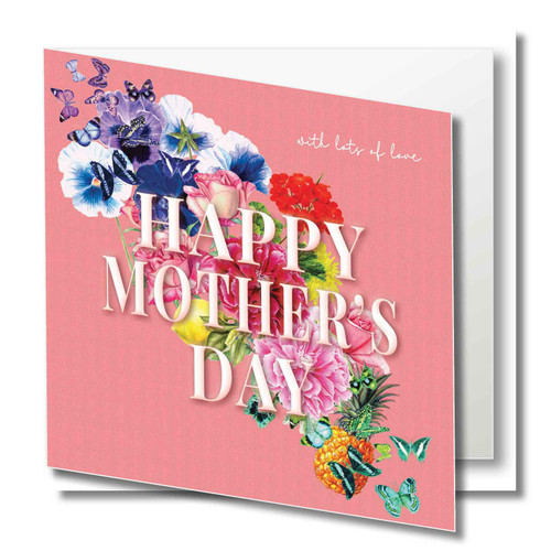 Birthday Greeting Card - Floral Collage - Happy Mothers Day - with lots of love - Peach  with White Text