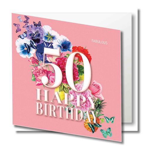 Birthday Greeting Card - Floral Collage - Age Fifty - Fabulous - Peach  with White Text