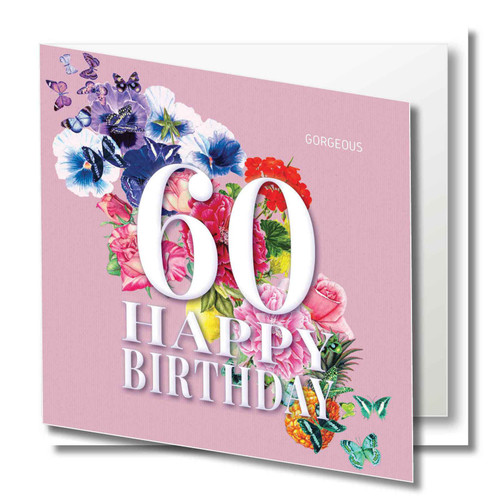 Birthday Greeting Card - Floral Collage - Age Sixty - Gorgeous - Pink  with White Text