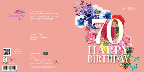 Birthday Greeting Card - Floral Collage - Age Seventy - Sensational - Peach  with White Text