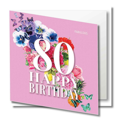 Birthday Greeting Card - Floral Collage - Age Eighty - Fabulous - Pink  with White Text