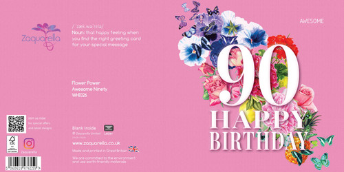 Birthday Greeting Card - Floral Collage - Age Ninety - Awesome - Pink  with White Text