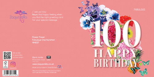 Birthday Greeting Card - Floral Collage - Age One Hundred - Fabulous - Peach  with White Text