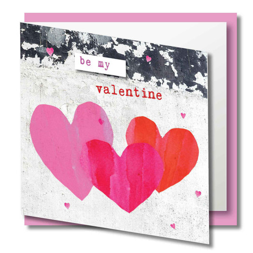 Valentines Day Greeting Card - Be Mine hearts trio - Gloss Finish - Blank Inside