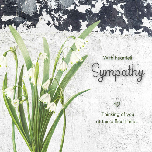 Sympathy greeting card - With heartfelt sympathy Thinking of you at this difficult time - Snowdrop Flowers - Blank inside