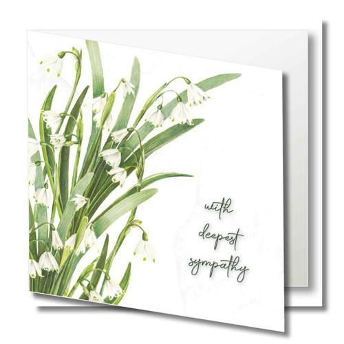 Sympathy greeting card - With deepest sympathy - Snowdrop Flowers - Blank inside