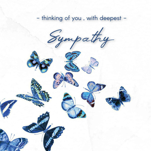 Sympathy greeting card - Thinking of you with deepest sympathy - Blue butterflies - Blank inside