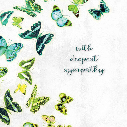 Sympathy greeting card - With deepest sympathy - Green and yellow butterflies - Blank inside