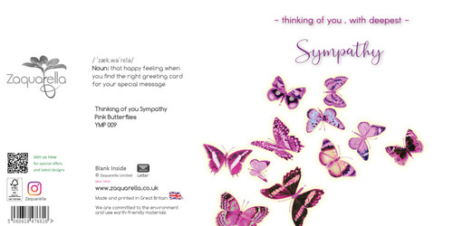 Sympathy greeting card - Thinking of you with deepest sympathy - Pink butterflies - Blank inside