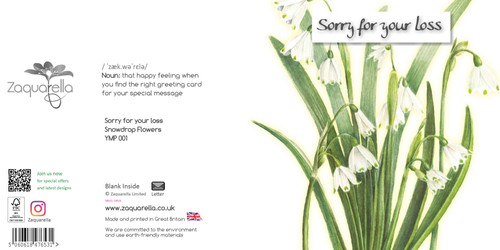 Sympathy greeting card - Sorry for your loss - Snowdrop Flowers - Painted background - Blank inside