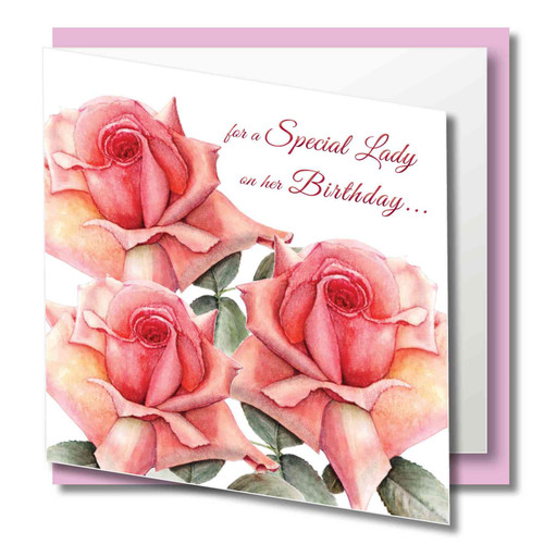 Rose Greeting Card - Elegant and Classy - Beautiful Pink Roses - Special Lady on her Birthday  - Art Watercolour
