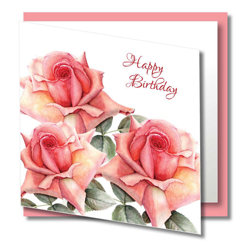 Birthday Greeting Card , Pink Rose , Happy Birthday , Blank Inside , Botanical Watercolour ,