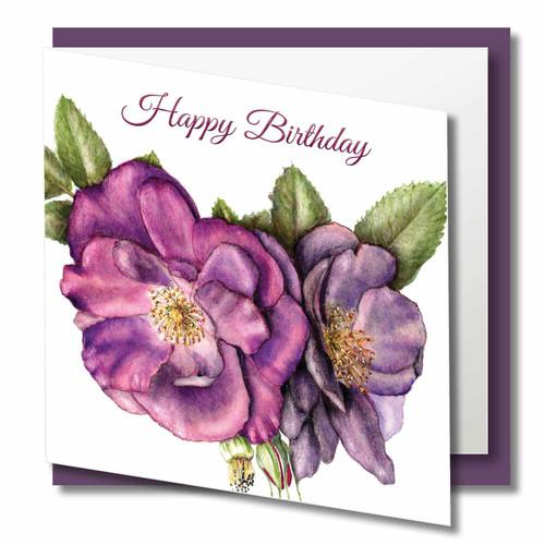 Birthday Greeting Card , Happy Birthday , Purple Rose , Blank Inside , Botanical Watercolour ,
