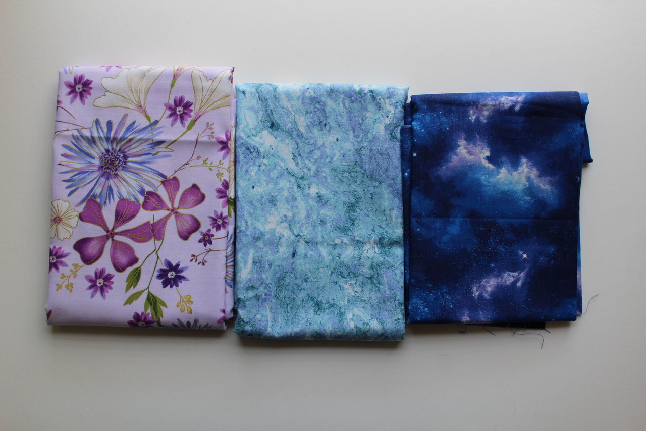 Flowers and Blue Fabric Bundle,Last of the Best~2 Yds 27 inches