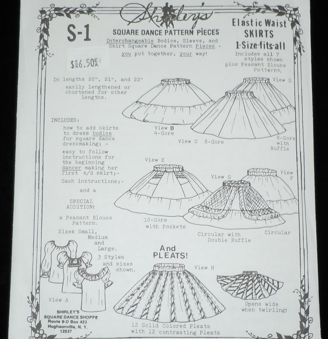 6e09085f2c41 S-1 Shirley's Square Dance Skirt Pattern - Brantleys Western & Casual Wear