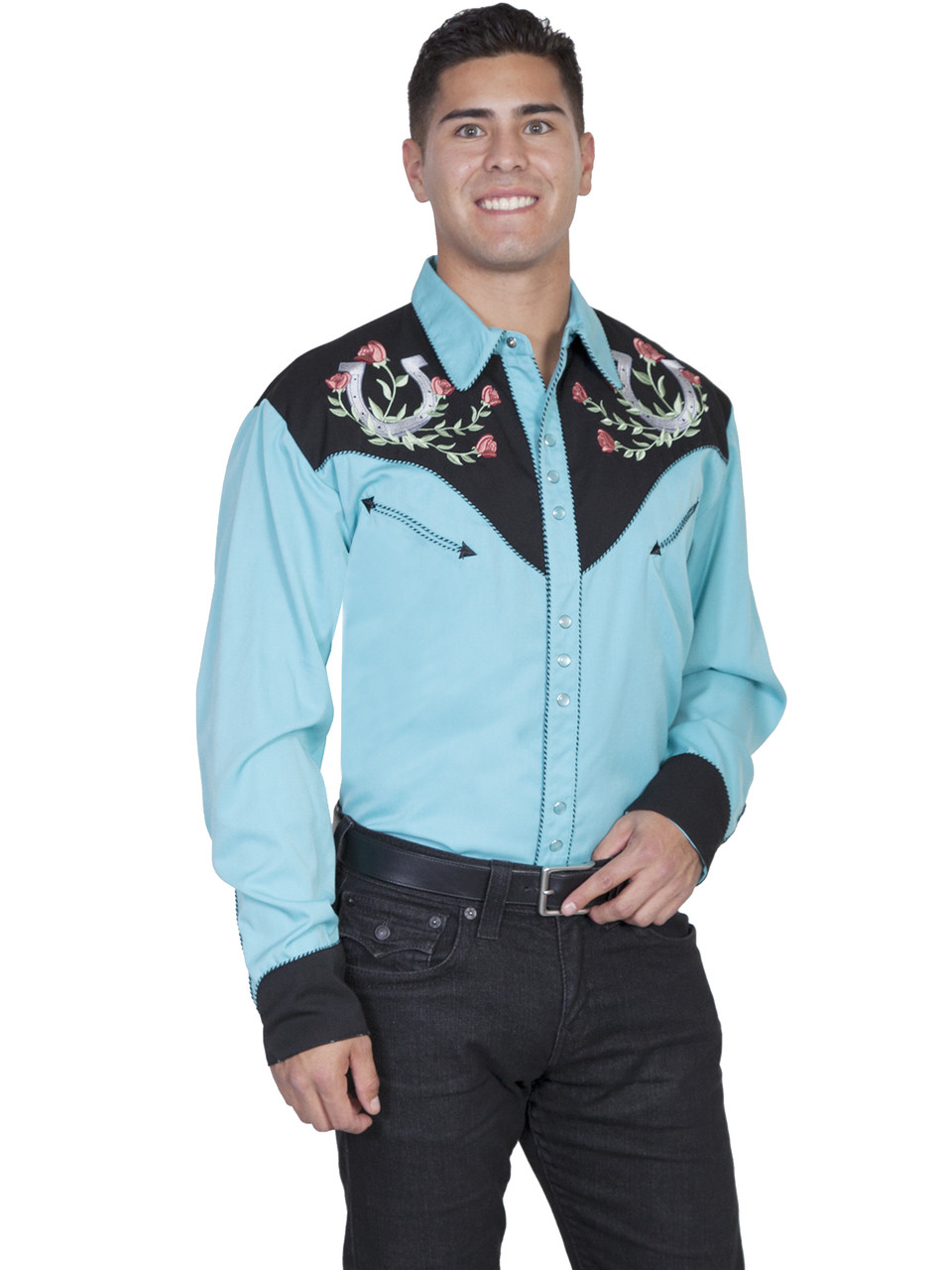 00a6c528d35204 P-660 Scully Rose & Horseshoe Embroidered Retro Western Shirt - Brantleys  Western & Casual Wear
