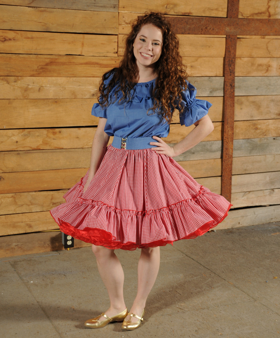 d4b30af2579 342G Gingham Full Circle Skirt with a Single Ruffle on the Bottom ...