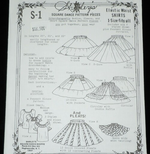 s-1 shirley's square dance skirt pattern