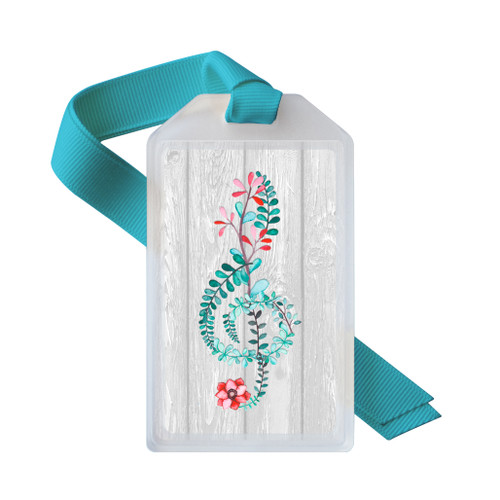 Treble clef ID tag in floral watercolor design