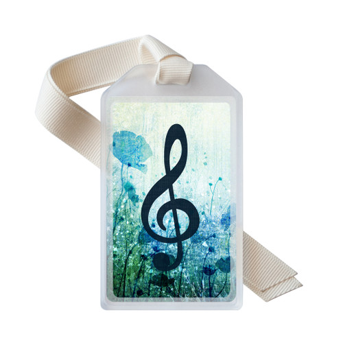 Dreamy blue treble clef instrument ID tag