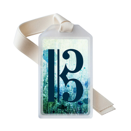 Blue floral alto clef instrument ID tag