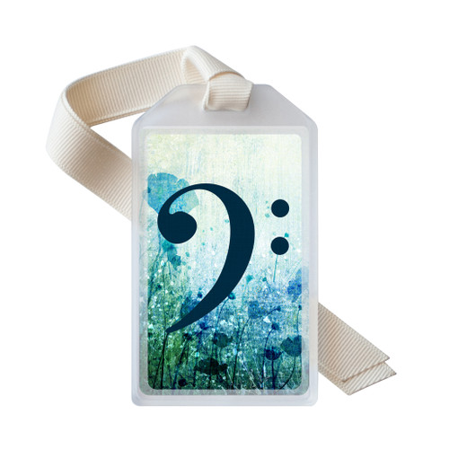 Blue floral bass clef instrument ID tag