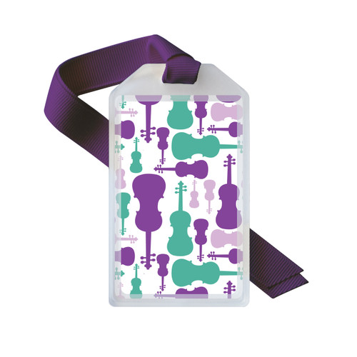 Purple and teal violin or viola case tag
